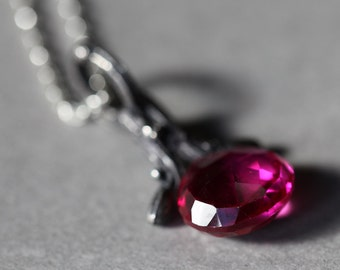 Sweet Valentine pendant, sterling silver twig jewelry with vivid fuchsia drop
