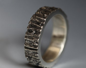 Men's Tree Trunk ring, sterling silver, 6mm, your size, rugged man's band