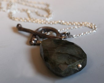 Dark forest pendant, sterling silver twig necklace, Labradorite toggle pendant, one of a kind
