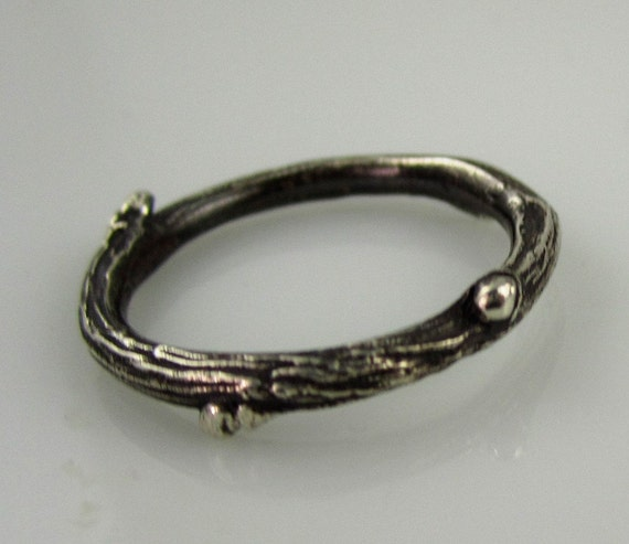 Willow twig ring, sterling silver, blackened size 7