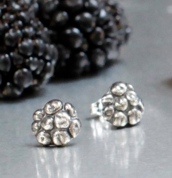 Summer blackberry post earrings, handmade sterling silver post earrings