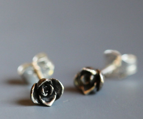 Tiny flower earrings, sterling silver roses, smallest size