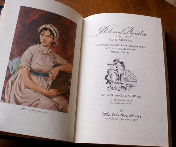 Vintage  Pride and Prejudice, Jane Austen Leather Collectible Book, 1977 Easton Press