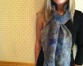 No.11 Nuno wet felted scarf - Blue gray cobweb with silk