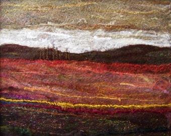 No.475 Red Field - Needlefelt Art XL