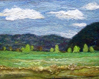 No.594 Green Field Too - Needlefelt Art XLarge