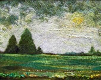 No.676 Green Field - Needlefelt Art XLarge