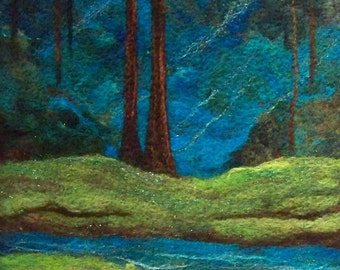 No.685 Deep Forest Blues - Needlefelt Art XLarge