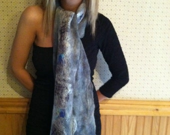 No.9 Nuno wet felted scarf - Blue gray cobweb with silk