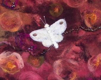 Sale! No.728 White Moth Too - Needlefelt Art XLarge