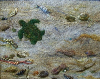 No.286 Turtle Beach - Needlefelt Art Large