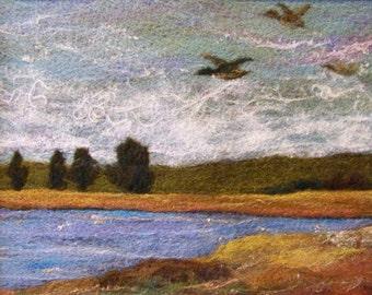 No.332 Duck Pond - Needlefelt Art XLarge