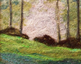No. 381 Deep Woods - Needlefelt Art Large - Mounted in a double mat