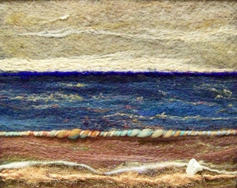 No.390 Abstract Sea - Needlefelt Art Large