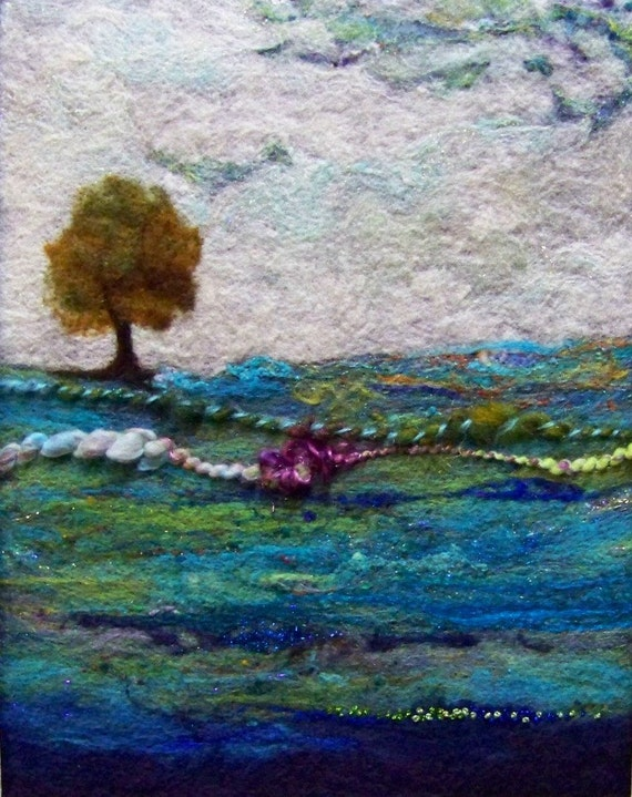 No.631 Lone Tree Blues - Needlefelt Art XLarge