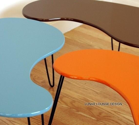 Kidney Bean Coffee Table  Mid century Modern design  by J. Sebastian for Lunar Lounge