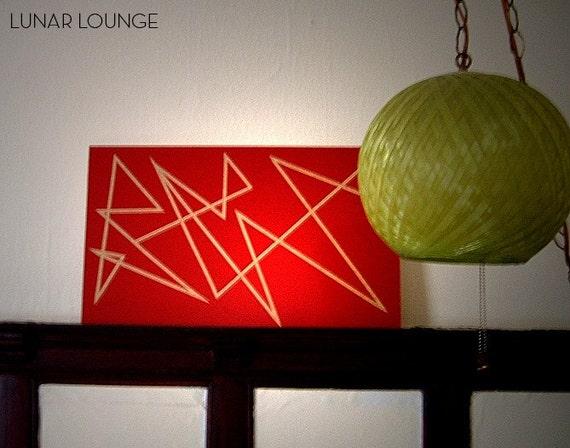 RED line painting  original artwork  mid century modern