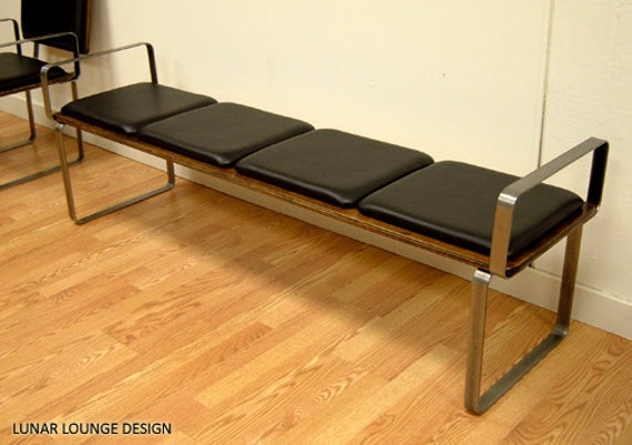 PLY BAK BENCH 4   with arm rests Mid Century Modern Bench
