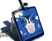 Silver Metal Pendant Charm Necklace. Blue Owl Glass Pendant: Blueberry Owl