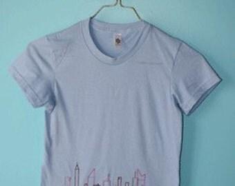 SALE Skyline Shortsleeve Tee, Light blue, pink, brown new york SMALL or MED
