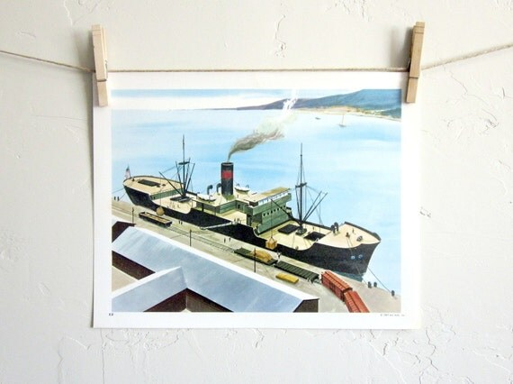 SALE Vintage Educational Class Room Posters, 1960s Cargo Ship