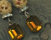 Ochre--- Vintage Assemblage Golden Ochre Earrings
