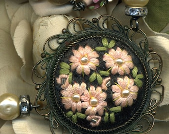 Her Stitchery-- Vintage Assemblage Necklace Embroidered Flowers