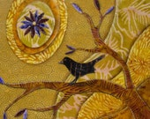 Purple Flower Sun - Original Fabric on Wood Art