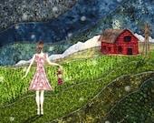 Gathering Fireflies, rustic red barn farm, farm girl, summer, green grass, 8.5 x 11 Archival Reproduction Print