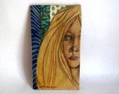 Original art, The Glance, Mixed Medium and Fabric on Wood