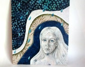 Finding my Voice, face portrait, Original Fabric on Wood art - shellieartist