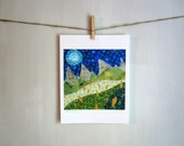 Deepest Darkest Night, 8.5 x 11 Archival Print, mountains wild flowers landscape