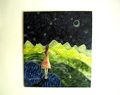 Gathering Fireflies, gifts for her, baby nursery, Original Artwork,  Fabric on Wood