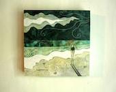 Lost at Sea, sea foam green, ocean beach summer, Original Fabric on Wood art block