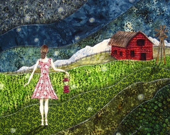 Gathering Fireflies, rustic red barn farm, farm girl, summer, green grass, 8.5 x 11 Archival Reproduction Print