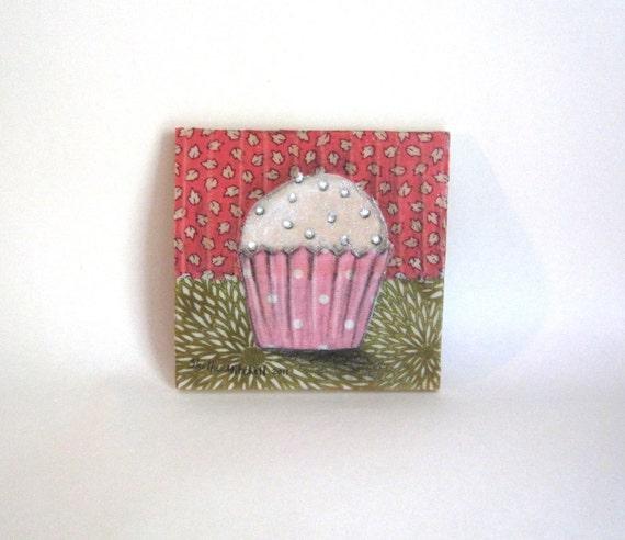 RESERVED for Michiko - Original Artwork, Little Pink Cupcake, Fabric on Wood art