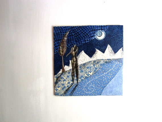 In the Middle of a Blue Evening - Original Fabric on Wood art