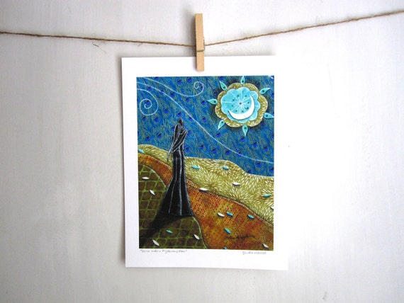 Dance under a Mysterious Moon, Archival Reproduction Print 8.5 x 11