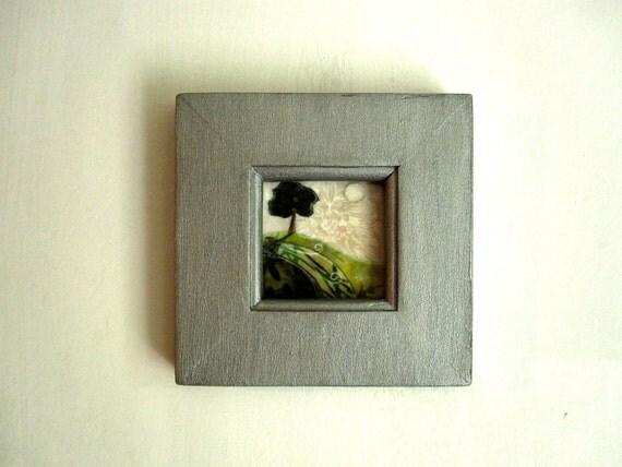 Day Break, green tree grass,  rustic woodland, framed, Original Artwork,  Fabric on Wood