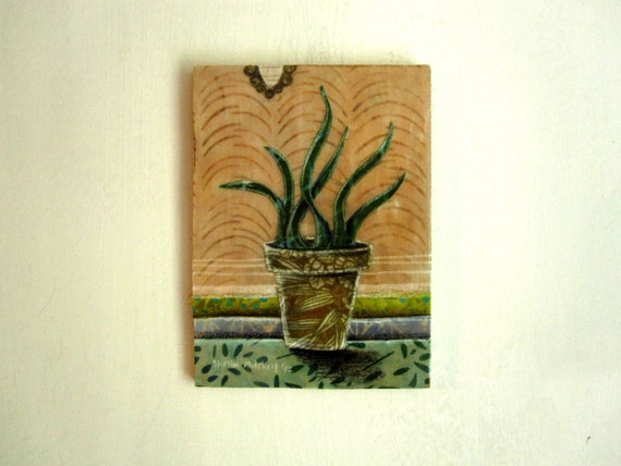 House Plant No. 1, Original Fabric on Wood art