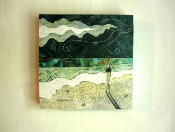 Lost at Sea, sea foam green, ocean beach summer, Original Fabric on Wood art block