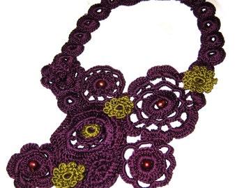 Large Size Plum Perfection Crochet Necklace