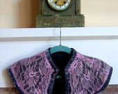 Lavender Felt and Pink Lace Capelet with Vintage Buttons