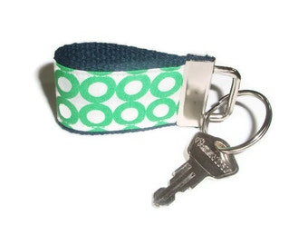 Tiny Key Ring Chain Fob made with organic cotton fabric