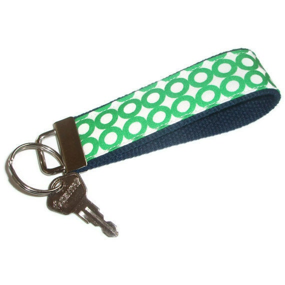 Wristlet Key Chain Fob Ring made with Organic Cotton Fabric