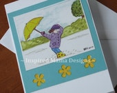 "Greeting Card, Art Print Girl with Umbrella and Rainboots, ""Puddle Jumping"" image, 4.25x5.5 inch Blank Note Card with Envelope"