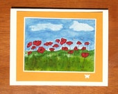Field of Poppies Art Card 4.25 x 5.5 inch Blank Greeting Card with Envelope