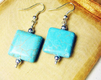 Drop Earrings Turquoise Howlite Earrings Pendant Earrings Stone Bohemian Jewelry