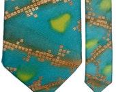 NECKTIE - Copper Squares on Turquoise
