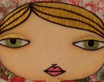ACEO (Original) - Red and Gold 7/8